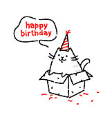 Cartoon funny cat, congratulates on his birthday. Vector flat illustration. The character is isolated on a white background. Kitty in the box. Cat's life. Character for the site and print postcards. Gift.