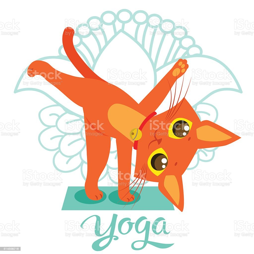 Cartoon Funny Cat Icons Doing Yoga Position. Yoga Cat Pose. vector art illustration