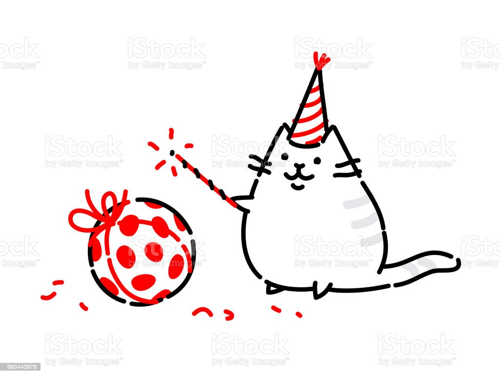 Cartoon Funny Cat Vector Flat Illustration The Character Is Isolated