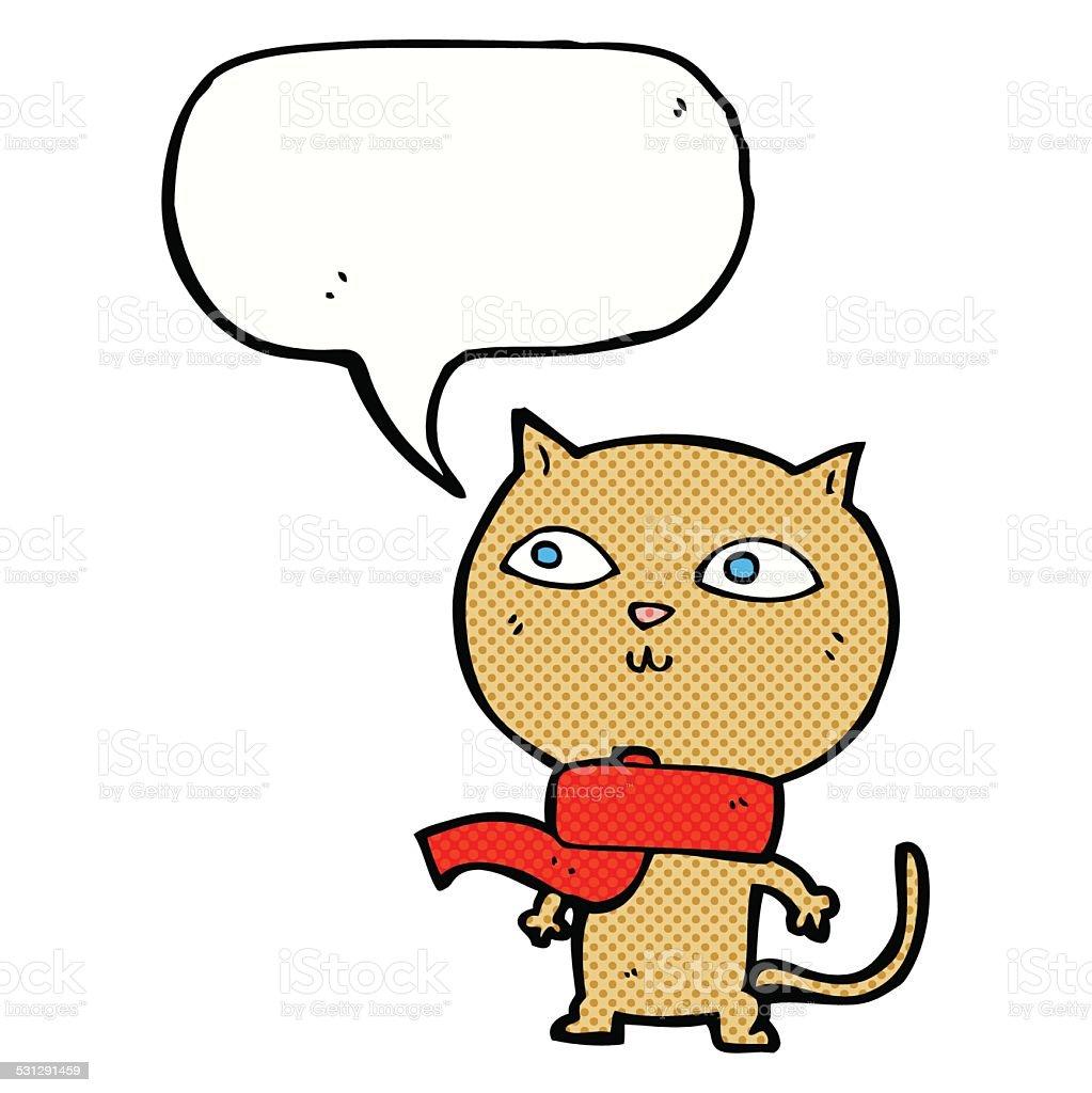 Kreskówka śmieszne Kot Sobie Szalik Z Dymek Stockowe