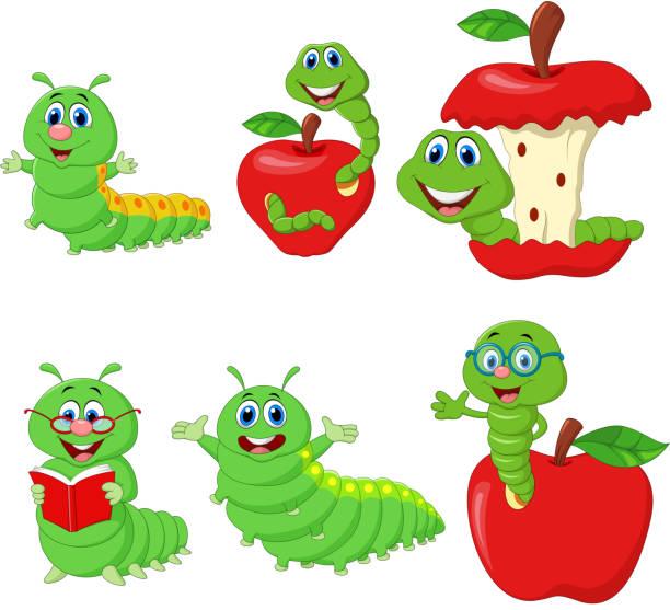stockillustraties, clipart, cartoons en iconen met grappige rups collectie set cartoon - larve