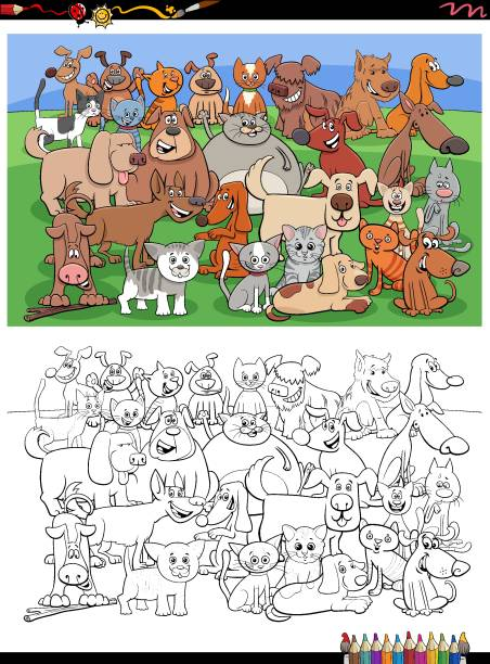39 Coloring Pages Of Puppies And Kittens Clip Art Illustrations Clip Art Istock
