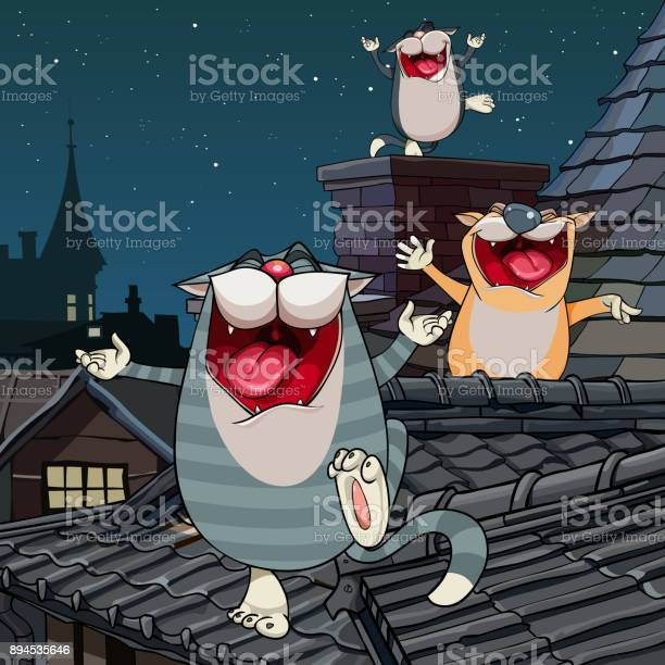 Cartoon funny cats yelling on the roof at night vector id894535646?b=1&k=6&m=894535646&s=612x612&h=qql0emcmyweiz4eh03xllof n7pua2uswepar1kyzr4=