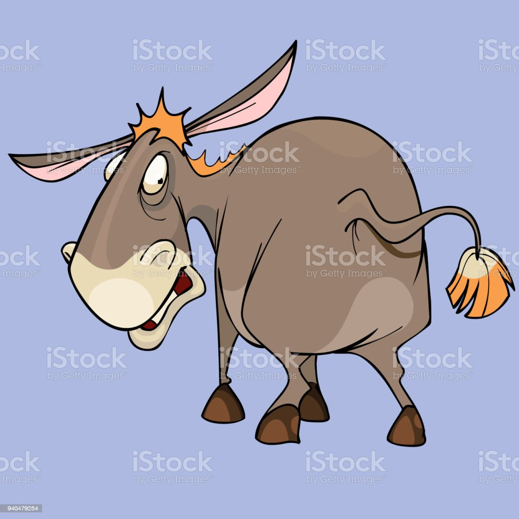 cartoon funny character puzzled donkey looking around - illustrazione arte vettoriale