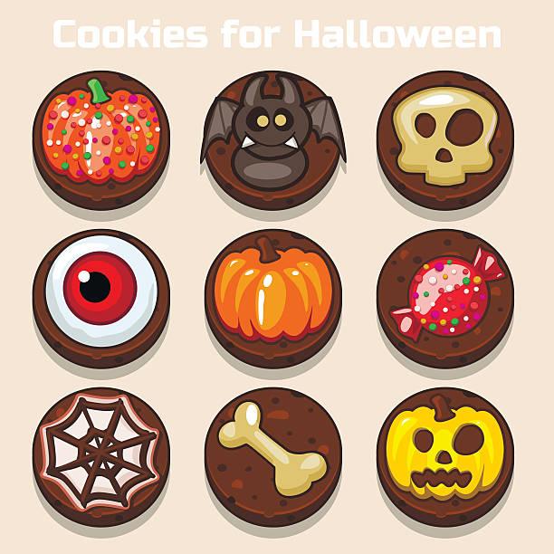 cartoon funny schokolade halloween-cookies - wackelpuddingkekse stock-grafiken, -clipart, -cartoons und -symbole