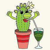 Cartoon funny colorful cactus drinks a fertilizer. Suitable for