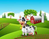 Illustration of Cartoon funny cow in the farm landscape background