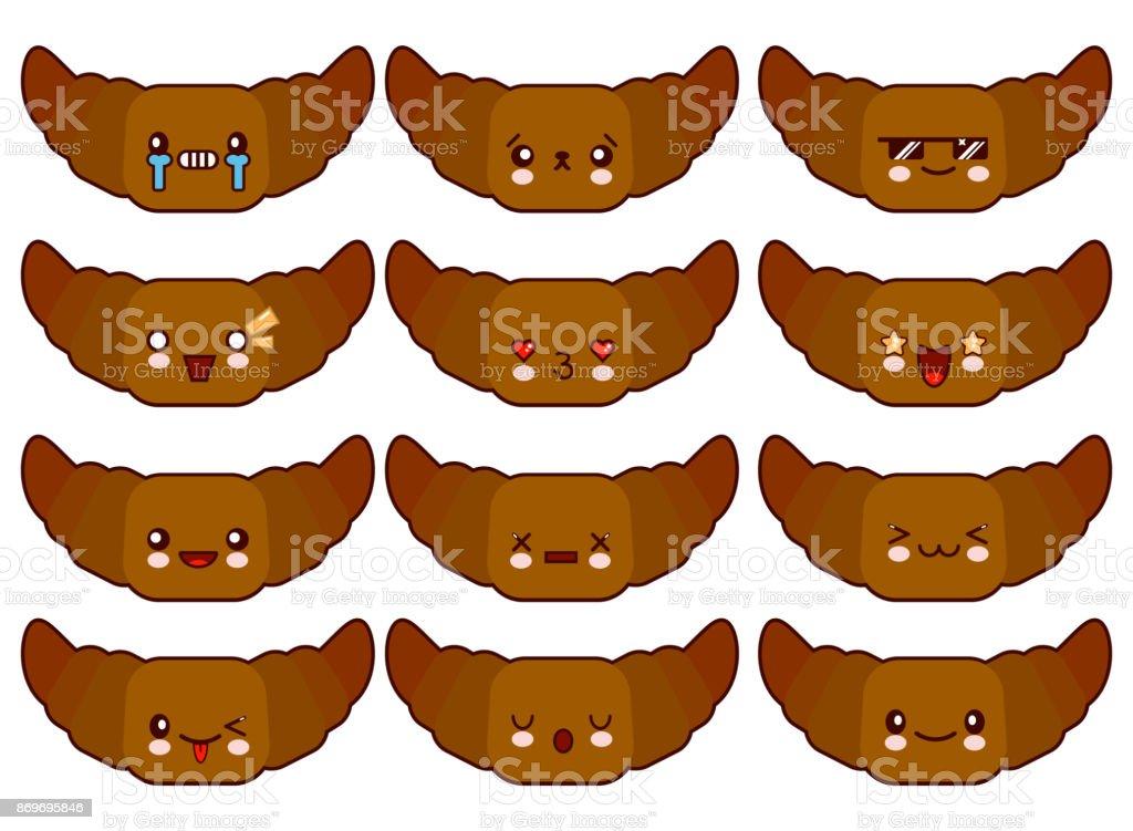 Zeichentrickfiguren lustige Croissant isoliert auf weißem Hintergrund. Lustig Essen Gesicht Symbol Emoji. Flache design Vektor-Illustration – Vektorgrafik