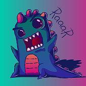 istock Cartoon funny cute illustration - snarling dinosaur. 1288114741