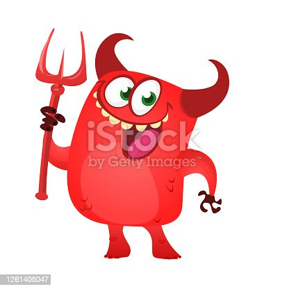 istock Cartoon funny devil laughing and holding a trident. Vector illustration for Halloween. 1261405047