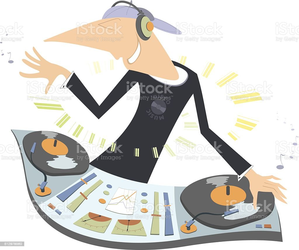 Cartoon funny DJ illustration vector art illustration