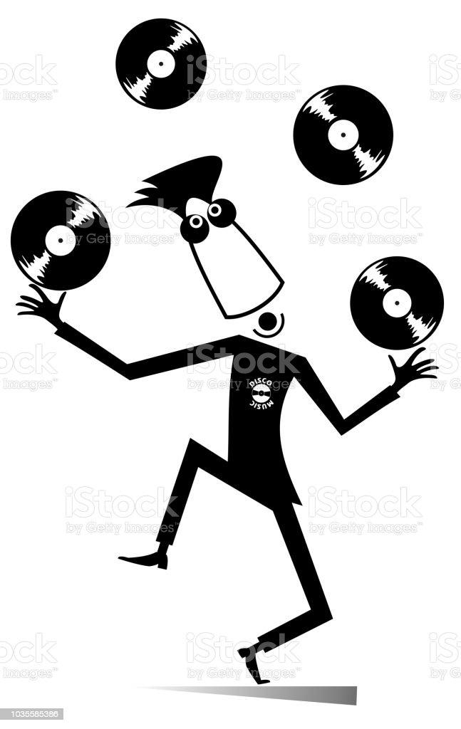 cartoon funny dj or music lover illustration stock vector