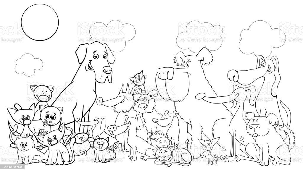 Ilustración de Dibujos Animados Graciosos Perros Y Gatos Para ...