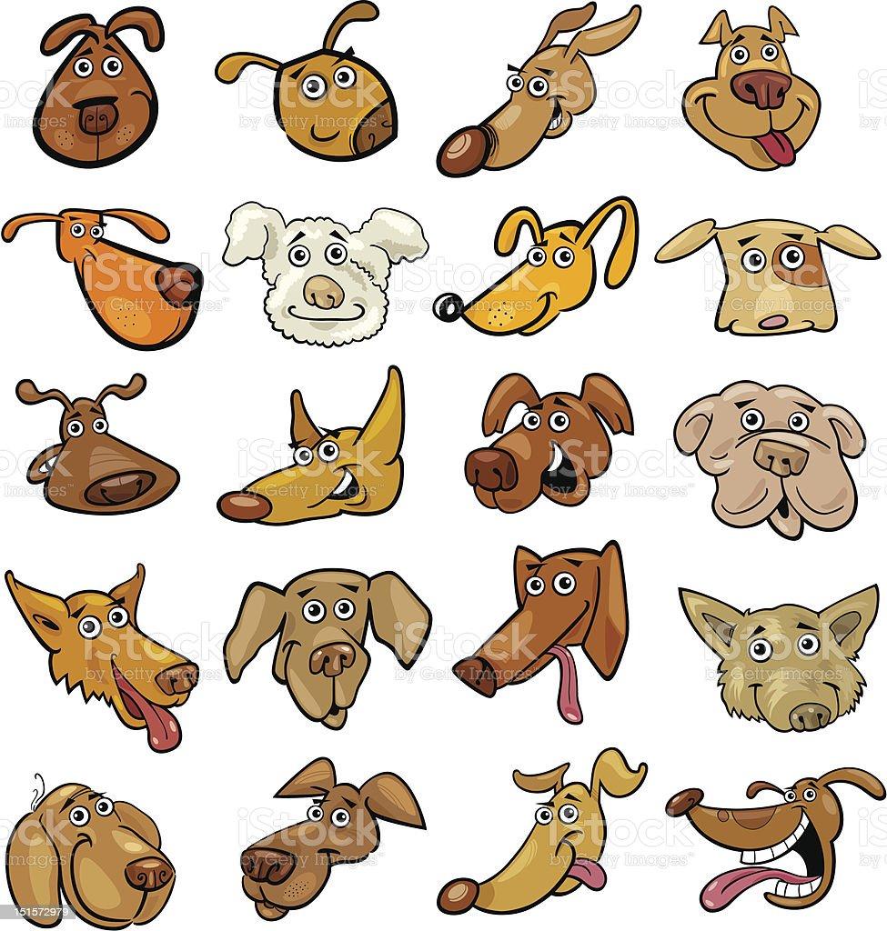 Cartoon funny dogs heads set vector art illustration