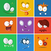 Cartoon funny faces with emotions. Monsters expression vector set