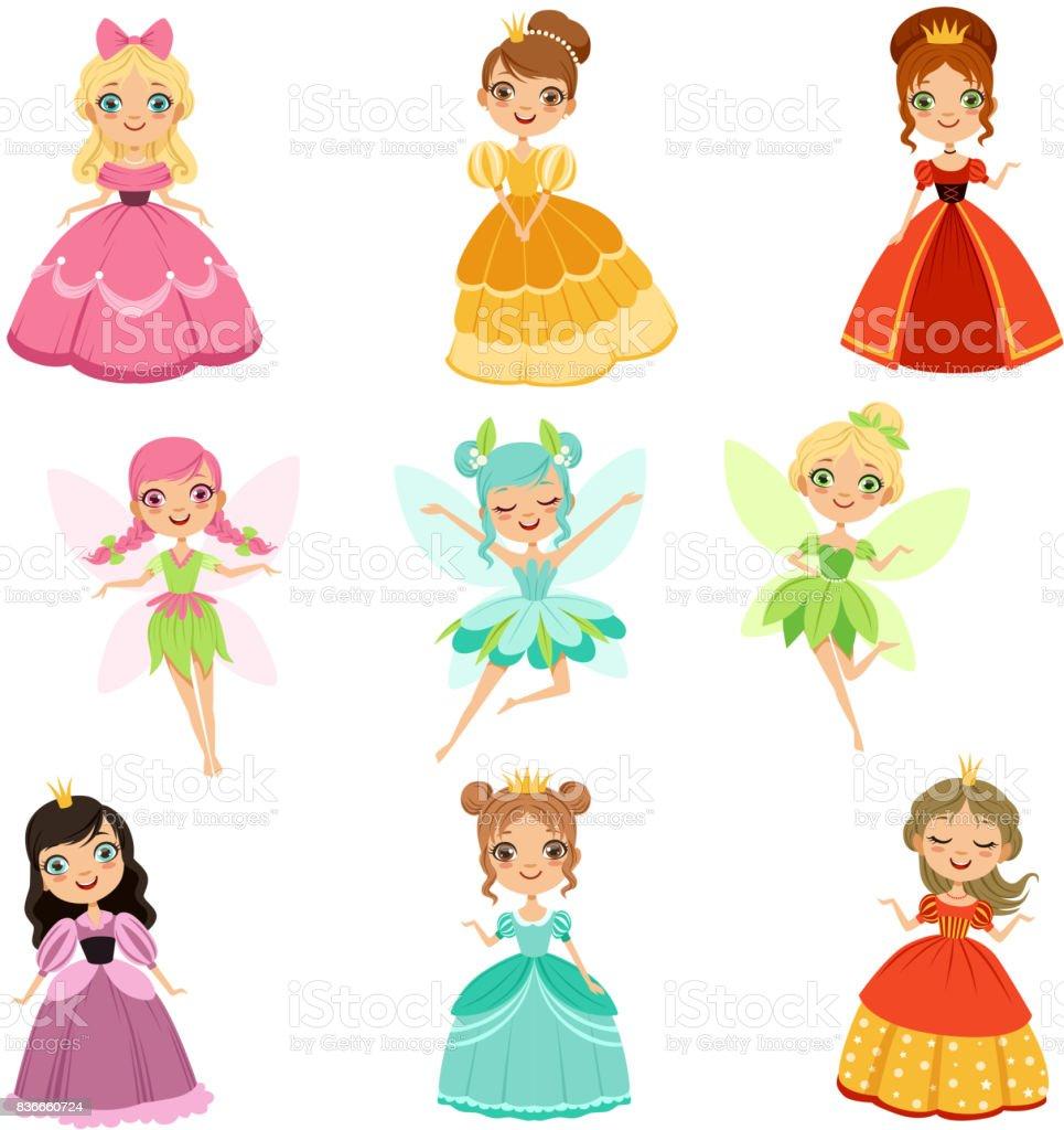 Ilustración De Princesas De Fantasía Divertida De Dibujos