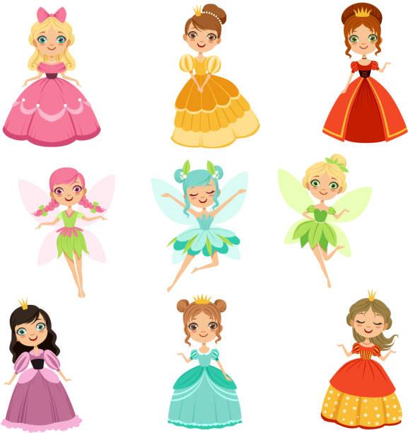 illustrazioni stock, clip art, cartoni animati e icone di tendenza di cartoon divertenti principesse fantasy in diversi abiti e costumi. set di illustrazioni vettoriali fiabesche - principessa