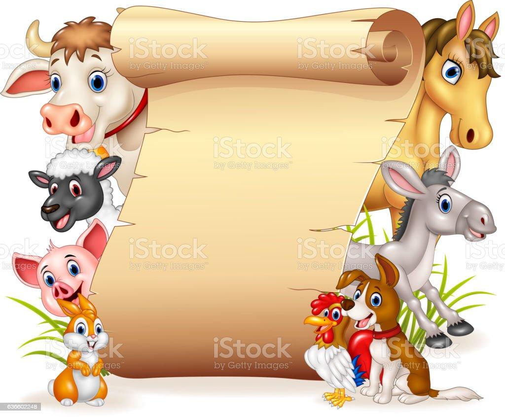 Cartoon Funny Farm Tiere Mit Leere Schild Stock Vektor Art und mehr ...