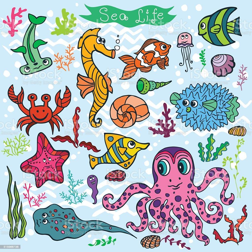 Fumetto di divertenti pesci mare vita priorit bassa for Immagini di pesci disegnati