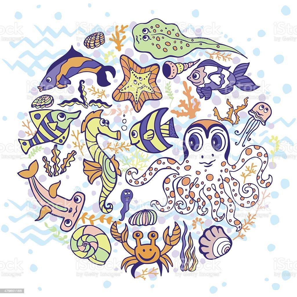 Sea life animals circle set.Fish, octopus, crab, seahorse with coral...