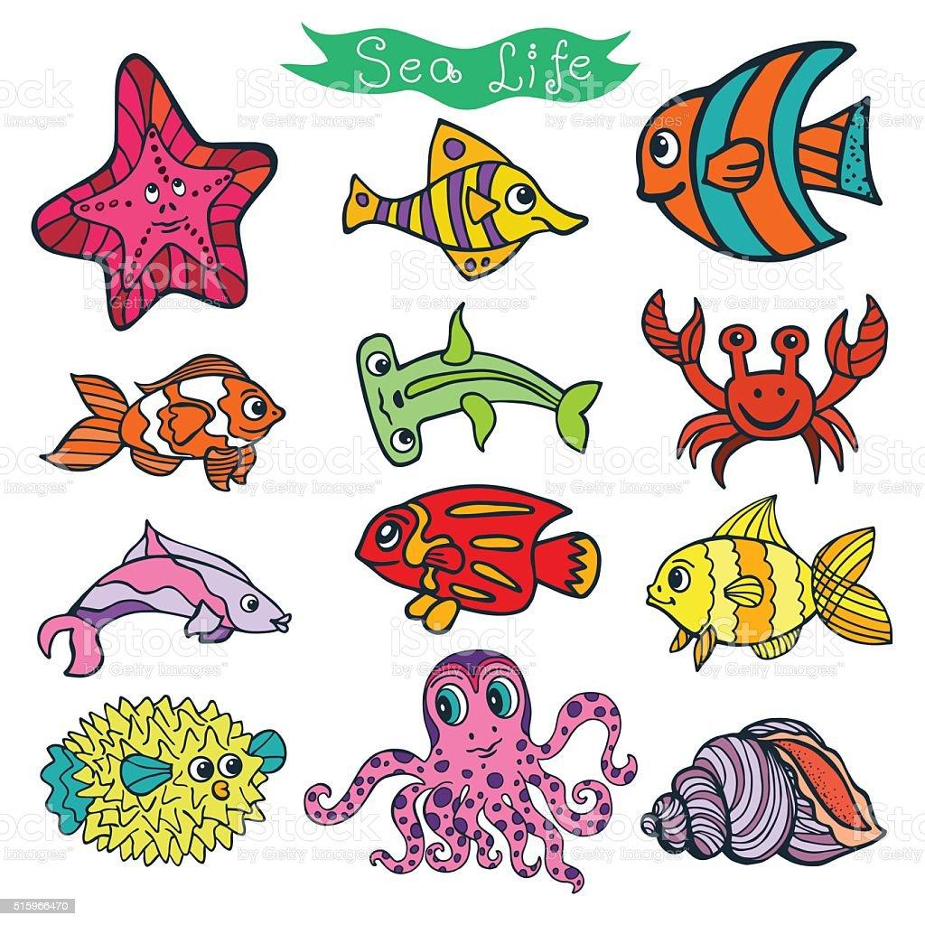 Dessin anim dr le de poisson mer vie couleur doodle ensemble isol stock vecteur libres de - Poisson dessin couleur ...