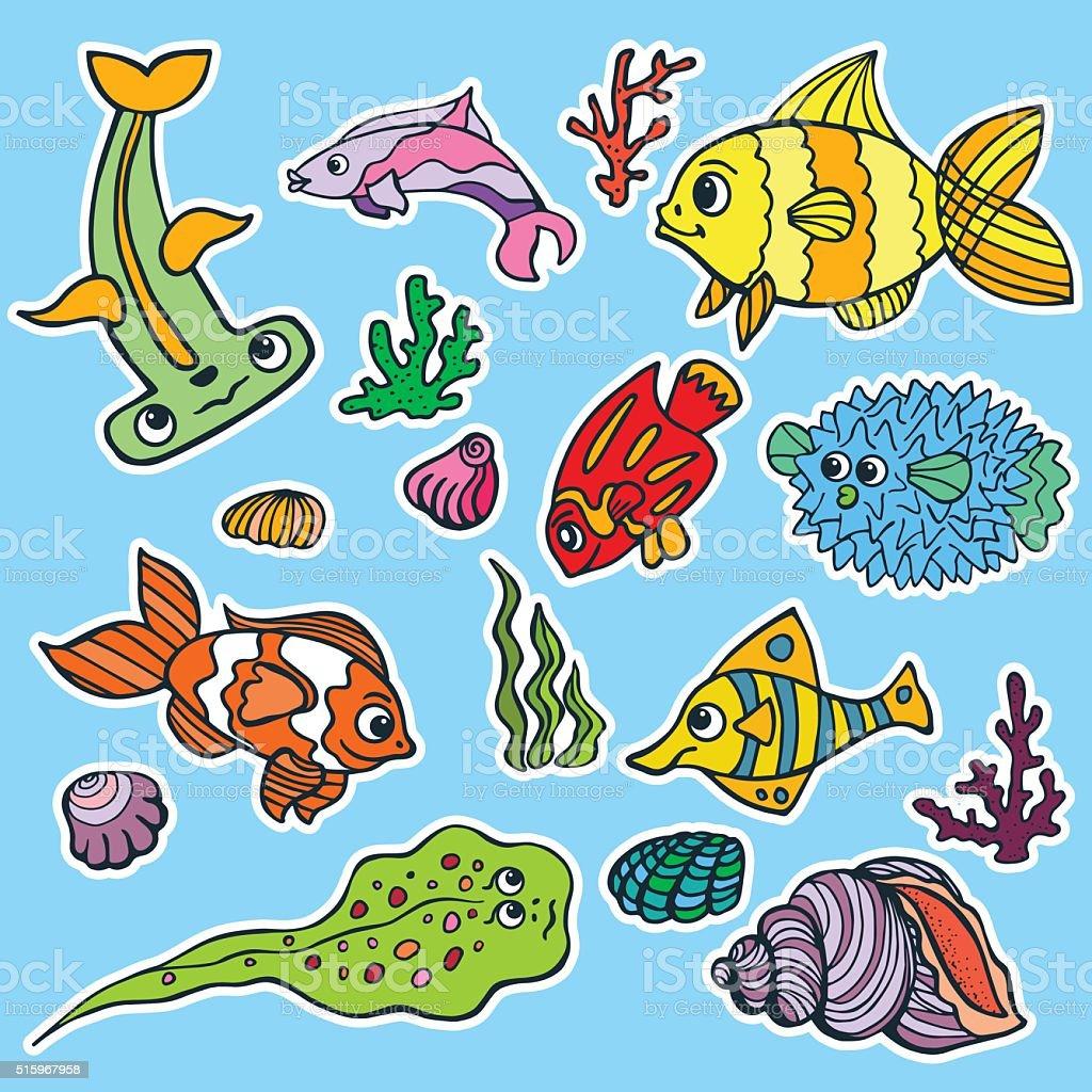 Dessin anim dr le de poisson mer vie autocollants couleur doodle ensemble vecteurs libres de - Poisson dessin couleur ...