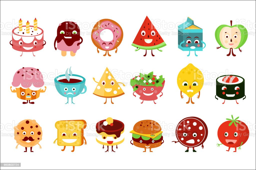 Cartoonlustig Essen Zeichen Satz Kuchen Wassermelone Eis Donut Apfel