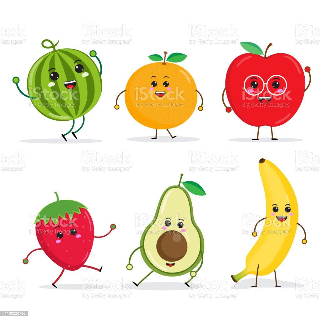 Vetores De Cartoon Personagens De Frutas Engraçadas Maçã