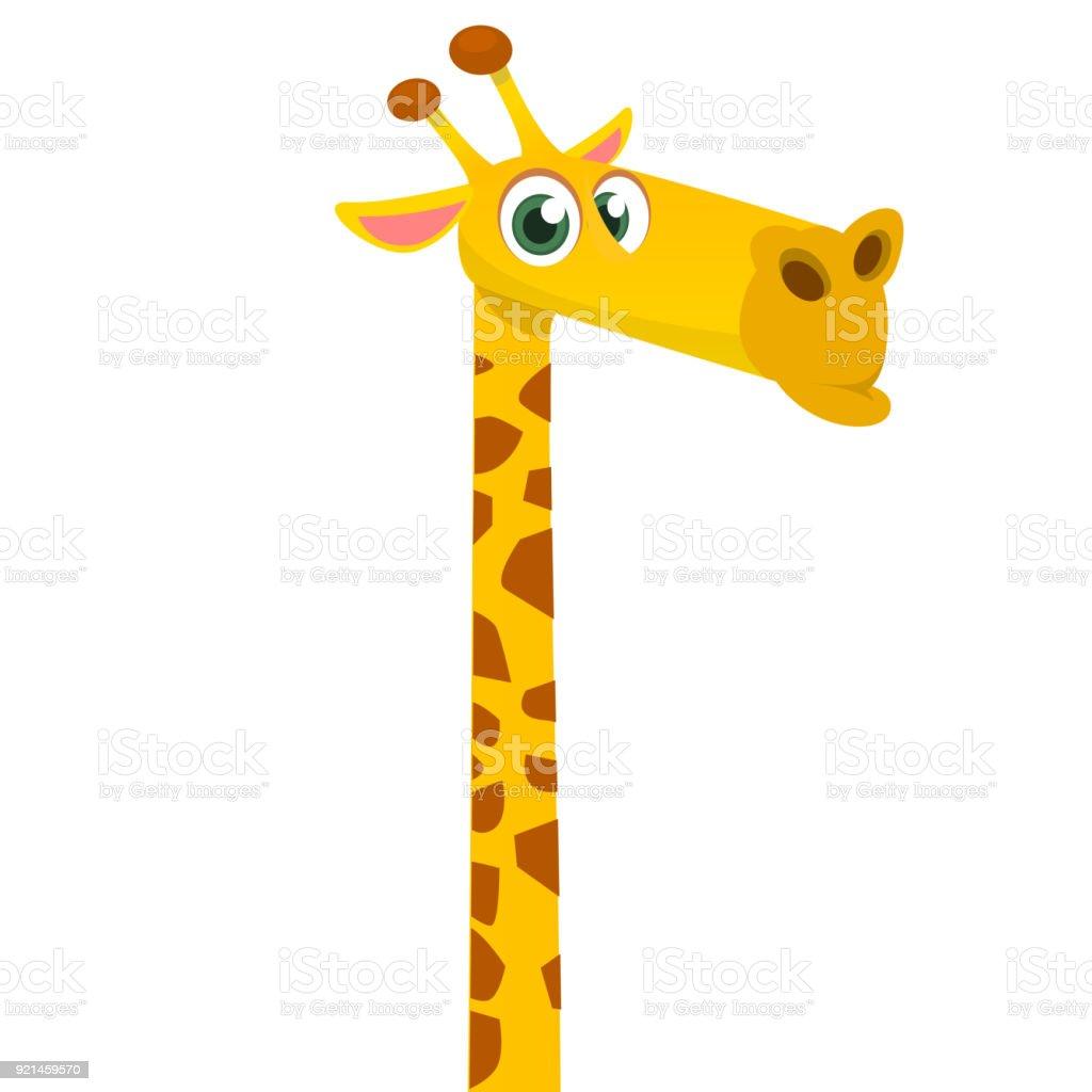 Cartoon funny giraffe. Vector illustration of african savanna giraffe smiling.