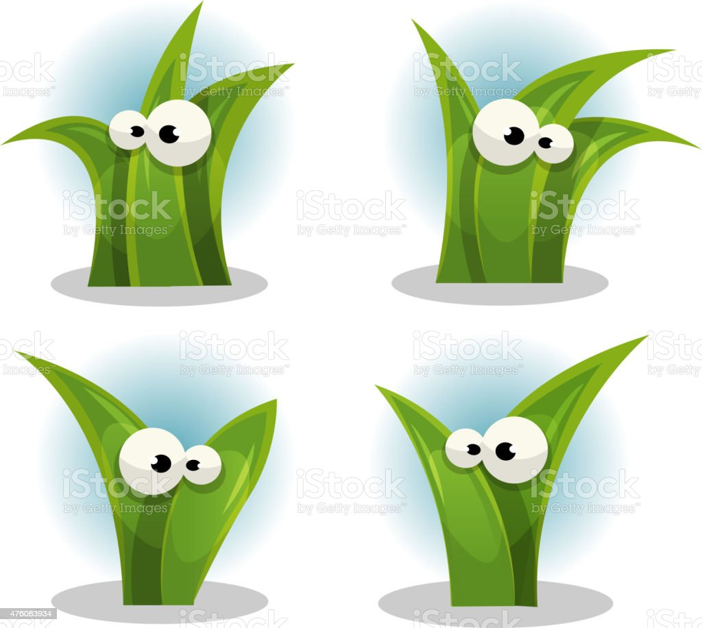 Cartoon Funny Grass Leaves Characters vector art illustration