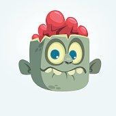 Cartoon funny gray zombie head surprised expression. Halloween vector illustration