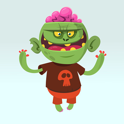 Cartoon funny green zombie wearing t-shirt with a skull. Halloween vector illustration of happy monster