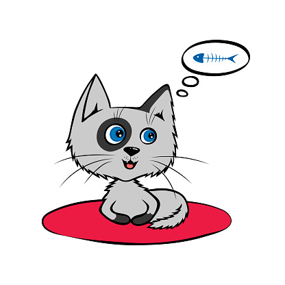 Cartoon Funny grey cat lying on the Mat and dreams of fish. Vector illustration isolated on the white background.