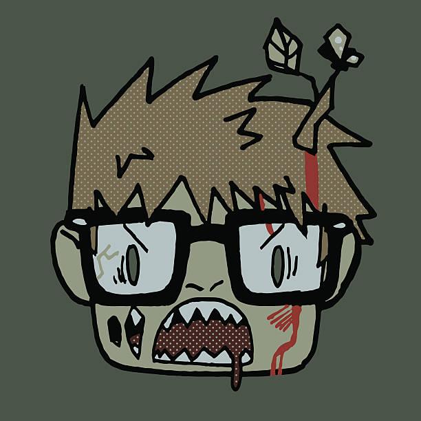 Cartoon funny hipster zombie head mascot icon. vector art illustration