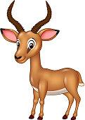 Cartoon funny impala isolated on white background