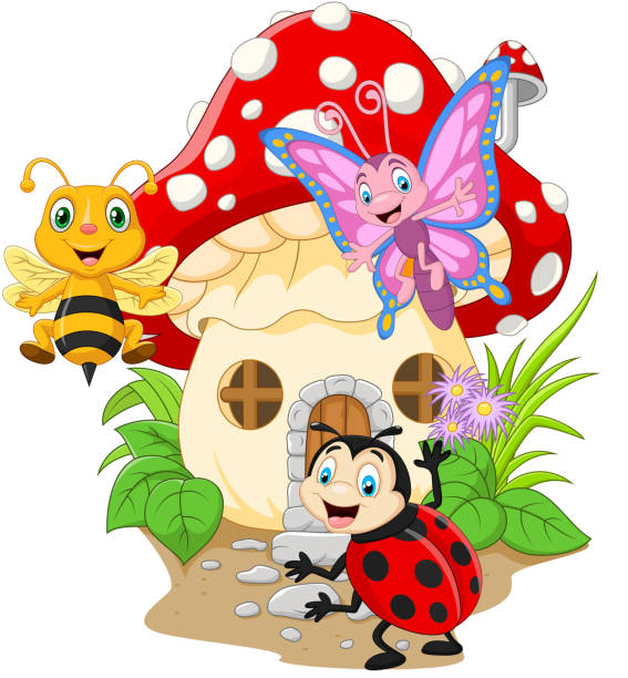 Cartoon funny insects with mushroom house Vector illustration of Cartoon funny insects with mushroom house butterfly insect stock illustrations