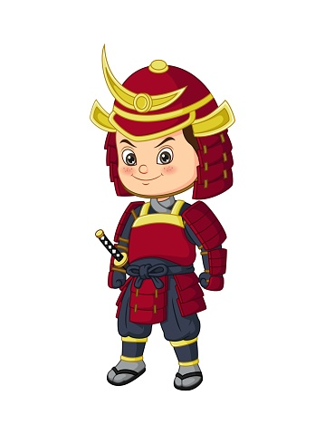 Cartoon funny japanese samurai warrior