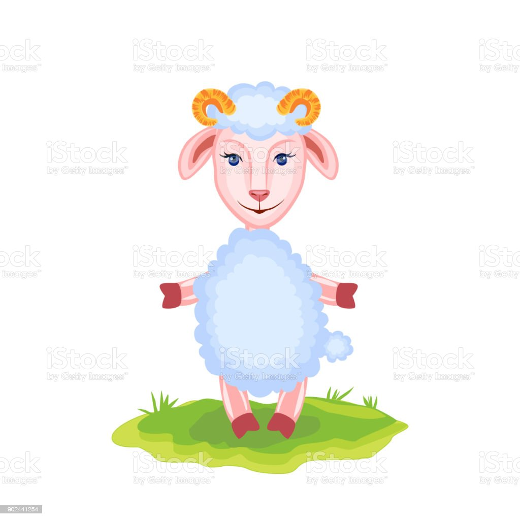 Cartoon funny lamb, kid cartoon vector animal, domestic cute ship on grass isolated on white background, Character design for greeting card, children invitations, creation of zoo alphabet, baby shower vector art illustration