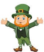 Cartoon funny leprechaun waving hand