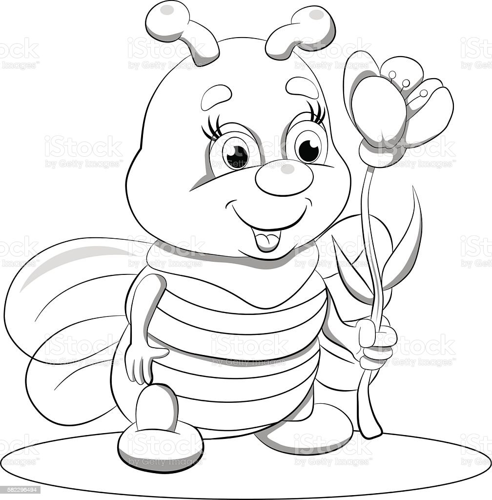 Cartoon Funny Little Bee With Flower Coloring Book Royalty Free
