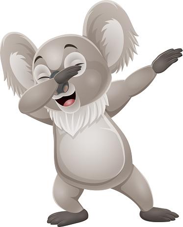 Cartoon funny little koala dabbing dance