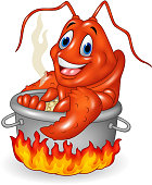 Illustration of Cartoon funny lobster being cooked in a pan