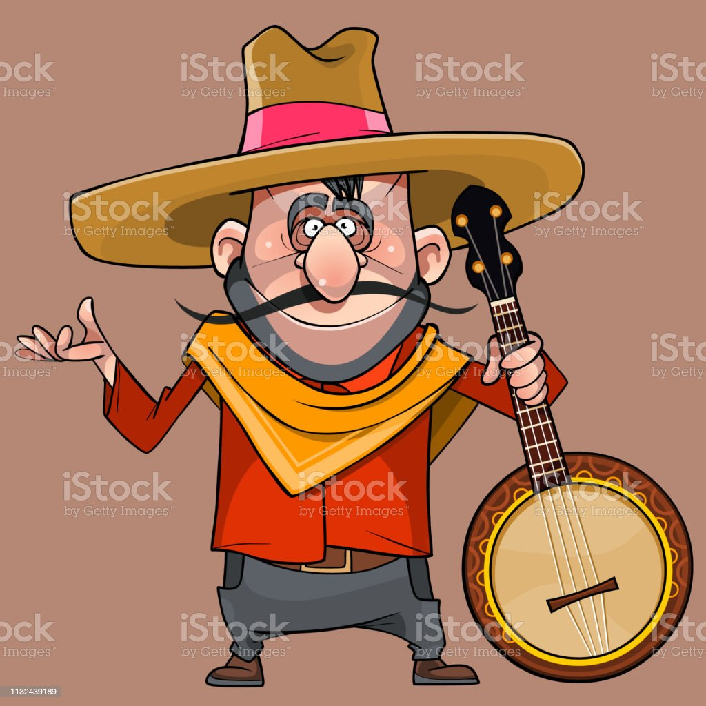 cartoon funny male musician in a sombrero with a banjo in his hand vector art illustration