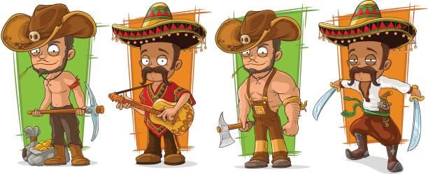 ilustrações de stock, clip art, desenhos animados e ícones de cartoon funny mexicans and cowboys character vector set - tronco nu