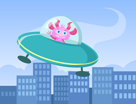 Cartoon funny monster travelling in flying saucer