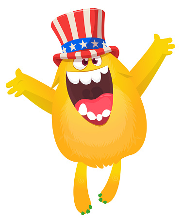 Cartoon funny monster wearing American uncle Sam hat on USA Independence Day . Vector illustration of alien creature character