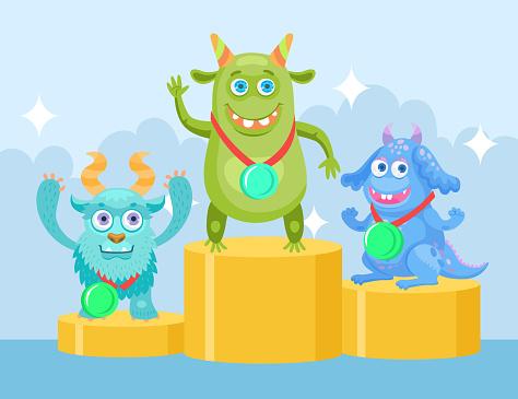 Cartoon funny monsters at championship flat vector illustration