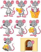 Illustration of Cartoon funny mouse collection set on white background