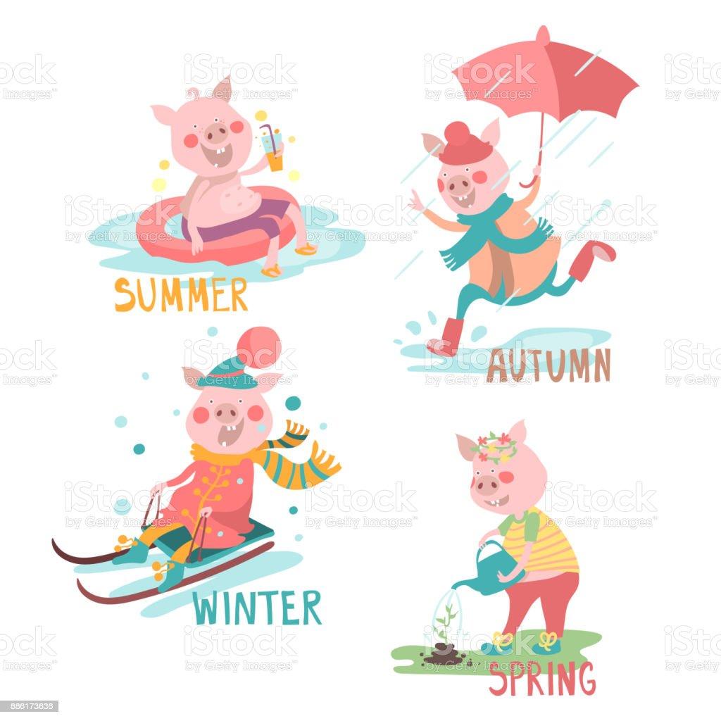 Cartoon Schweine Lustig Mit Saisonalen Aktivität Set Sommer Herbst