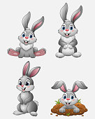 Vector illustration of Cartoon funny rabbits collection set